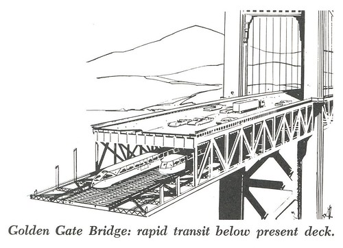Golden Gate Bridge: rapid transit below present deck (1961)