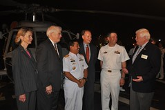 JAKARTA, Indonesia (Feb. 23, 2011) From left, U.S. Reps. Lois Capps, David Price, Indonesian Navy Western Fleet Commander, Rear Adm. Hari Bowo, Rep. David Dreier, the guided-missile frigate USS Reuben James (FFG  57) Commanding Officer Cmdr. David E. Miller and Rep. Jim McDermott meet and greet with one another on the ship's flight deck during a reception. (U.S. Navy photo)