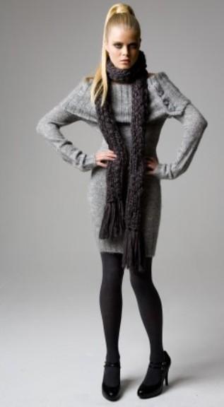 Sweater Dress ,Pantyhose and Heels
