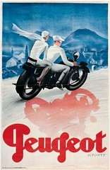 old poster -ad for Peugeot moped