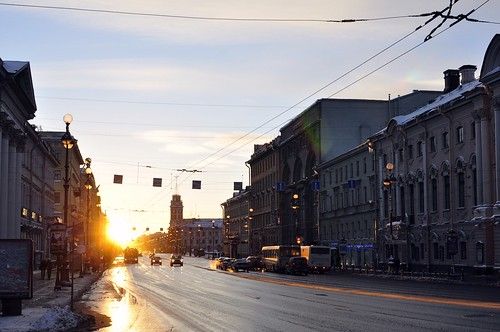 road morning sky sun sunrise stpetersburg cityscape nevskiy