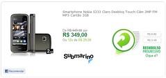 Smartphone Nokia 5233 Claro Desbloqueado Touchscreen Câmera 2MP FM MP3 Cartão 2GB