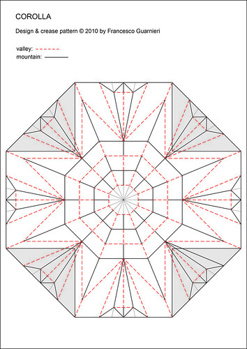 Paper Ornament 12 Photos | Corolla  (Crease Pattern, white side) | 971
