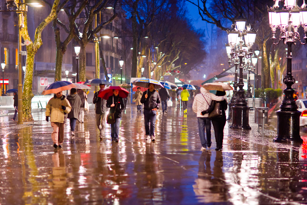 La Rambla In The Rain - 1