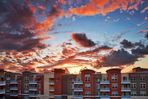sunset sky building architecture clouds canon unitedstates socal condo 5d southerncalifornia orangecounty anaheim oc gardengrove clearing markii chapmancommons