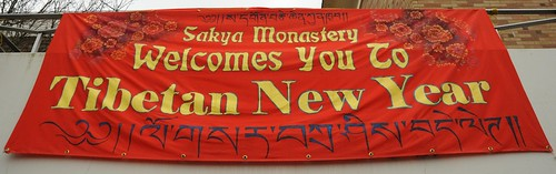 Sakya Monastery Welcomes You To Tibetan New Year, in English and Tibetan, sign by Linda Lane, Happy New Year, Greenwood, Seattle, Washington, USA by Wonderlane