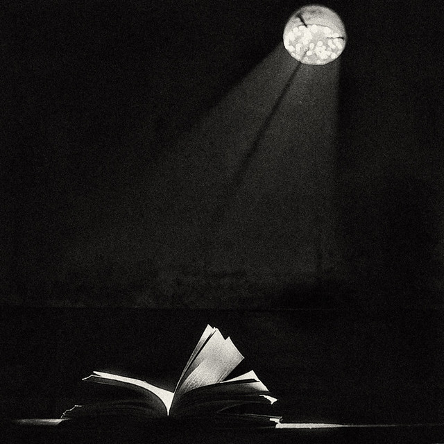 Knowledge enlightens -- rays of moonlight on open book