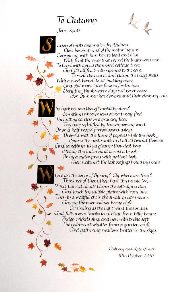 To Autumn John Keats: To Autumn By John Keats In Calligraphy With Autumn Leaves