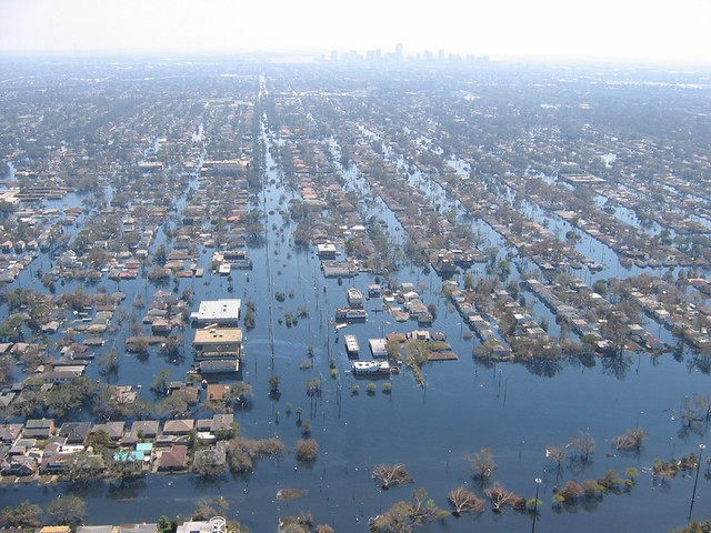 An aerial view of a flooded neighborhood.