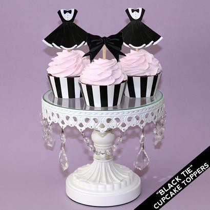 Printable Black Tie Party Dress Cupcake Topppers   Black Tie ...