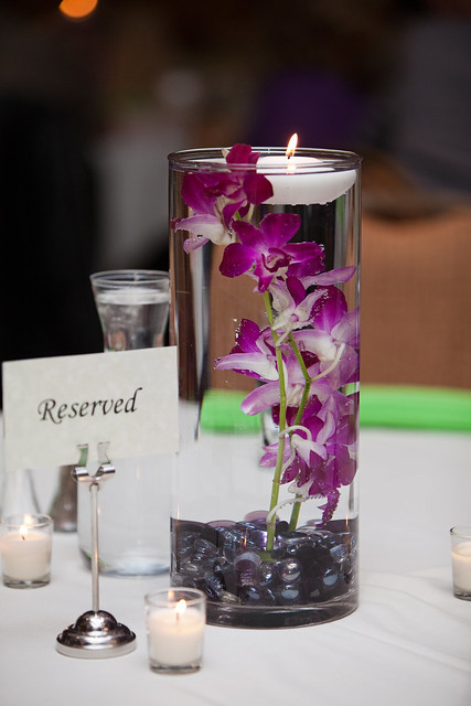 Diy submerged orchid centerpiece with floating candle