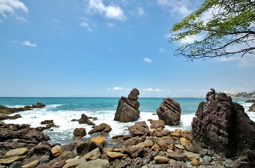 ocean seascape nature mexico rocks stones branches horizon wideangle puertovallarta