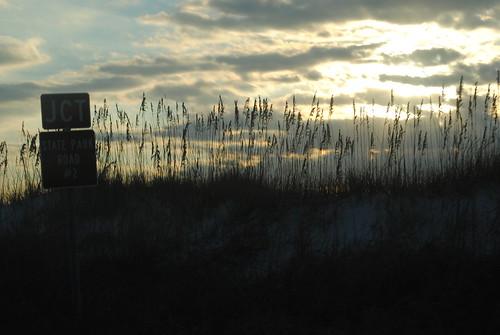 november sun beach silhouette sunrise coast al nikon alabama roadsign ontheroad gulfshores 2010 gulfcoast baldwincounty d3000 november2010 nikond3000 al182