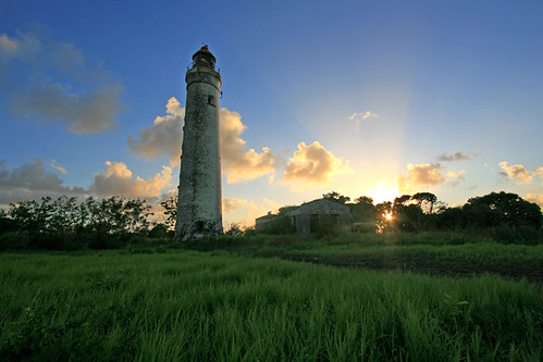 sunset abandoned st lucy lighthouses january barbados caribbean 2011