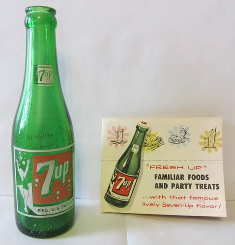 1953 7Up Bottle w Recipe Booklet