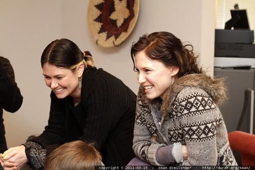 rachel & aunt megan watch the kids unwrap gifts