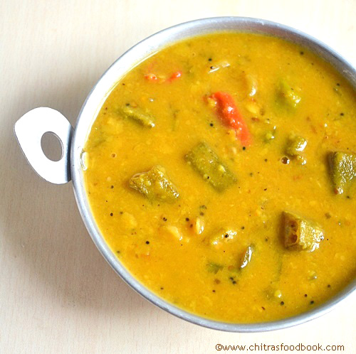Vendakkai sambar recipe/Okra sambar recipe
