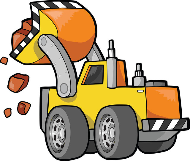 Yellow Tractor Clip Art : Front loader tractor moving rocks clipart illustration
