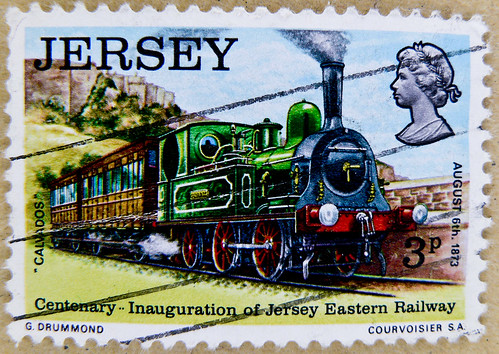 "beautiful stamp Jersey 3p England GB postage train ""B1-n2"" Calvados 1873 railway Great Britain England United Kingdom GB UK timbre poste Angleterre sello Inglaterra francobolli Inghilterra Briefmarken Großbritannien Jersey Eastern Railway 1873"