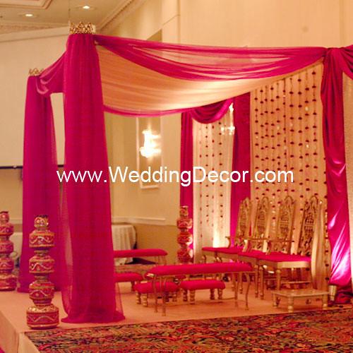 App Wedding Decoration: Mandap - Fuchsia & Ivory