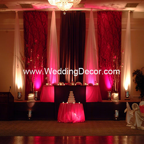 Brown fuchsia wedding reception backdrop flickr for Backdrop decoration