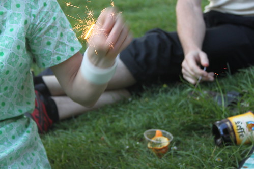 Sparklers in the park.
