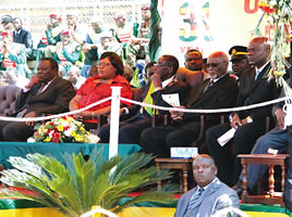 Dignitaries on the diaz at the 31st anniversary of Zimbabwe independence ceremony. On the podium is President Robert Mugabe, Vice-President Joice Mujuru and others. by Pan-African News Wire File Photos
