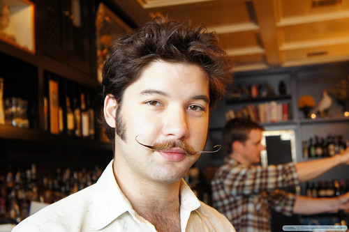 Bartender with an amazing Salvador Dali moustache