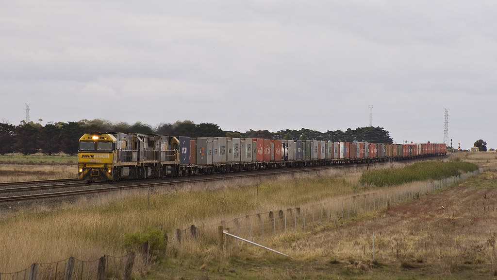 Container train at Gheringhap by michaelgreenhill