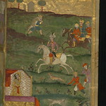 Illuminated Manuscript, Collection of poems (masnavi), A prince returning from a hunt and a woman in a pavilion, Walters Art Museum Ms. W.626, fol. 2b