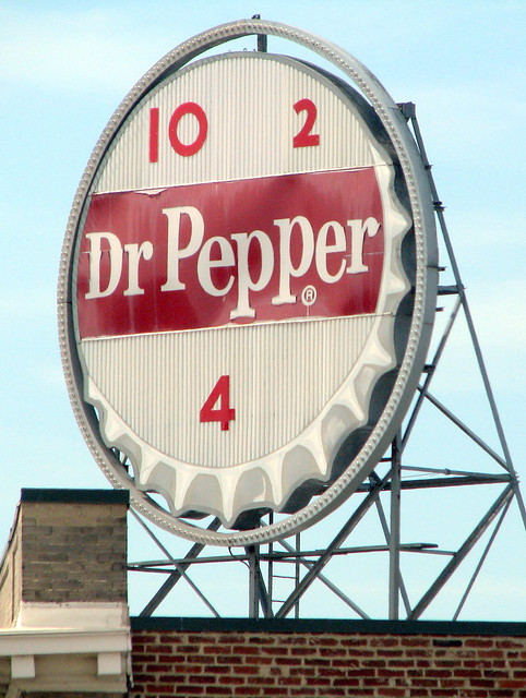 Roanoke's Vintage Dr. Pepper sign in the day