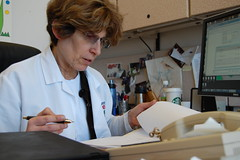 Dr. Lauren Krupp in her office at Stony Brook University Medical Center in Stony Brook, N.Y.