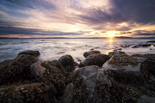 seattle sunset sea sky sun seascape beach water clouds washington rocks shore alki pugetsound rays