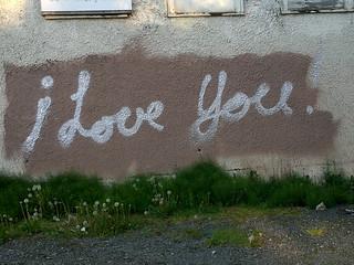 """""""i love you"""" graffiti in East Van - 051920117393"""