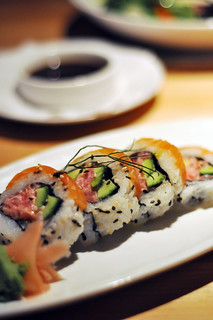 Spicy Tuna and Salmon Sushi Roll
