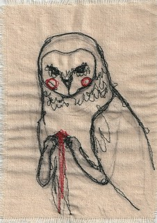 darning foot practice - owl