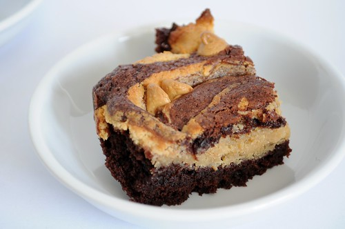 Brownies with peanut butter cheesecake