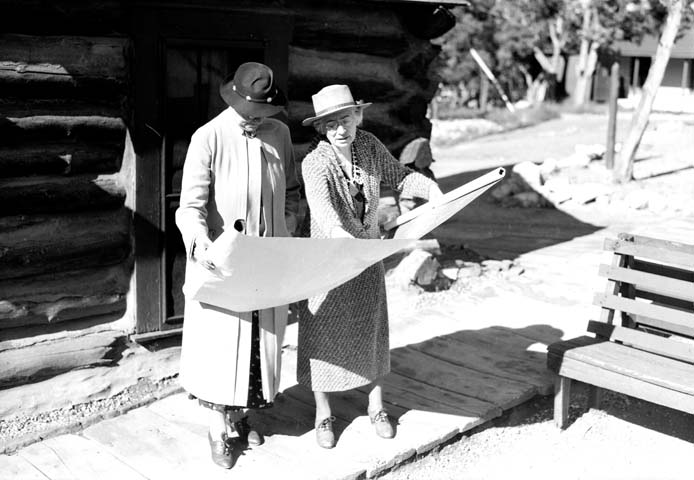 16940 Grand Canyon Historic_ Mary Colter Looking at Blueprints c. 1935