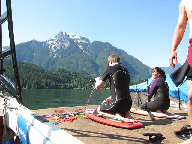 Carla about to teach Bruno to kneeboard