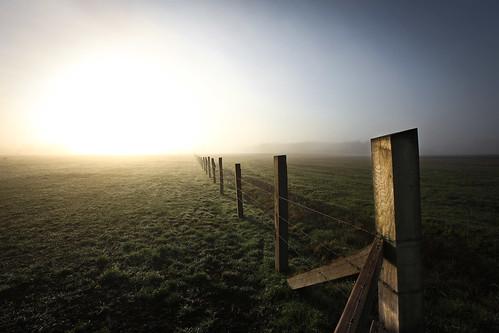 sky sun fog fence golden nebel himmel gras zaun sonne barbwire stacheldraht weitwinkel canon5dmarkii canon1635mml28iiusm