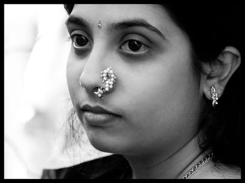 woman with nose ring b-w