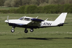 G-ATNV - 1966 build Piper PA-24-260 Comanche, arriving on Runway 27R at Barton