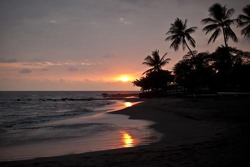 ocean camping sunset camp reflection tree beach blacksand hawaii pacific palm tropical hi bigisland campground tropics islandofhawaii konacoast hookena naturewatcher theislandofhawaii