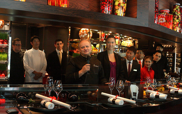 Joël Robuchon welcoming the media - we are the first people to have seen his restaurants here