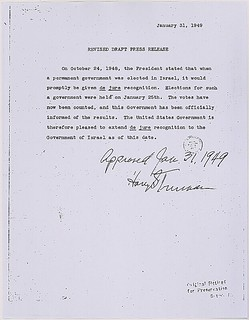 Press release announcing U.S. de jure recognition of the state of Israel, 01/31/1949