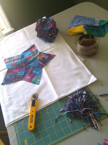 No power for days? Screw it. Let's cut quilt pieces.
