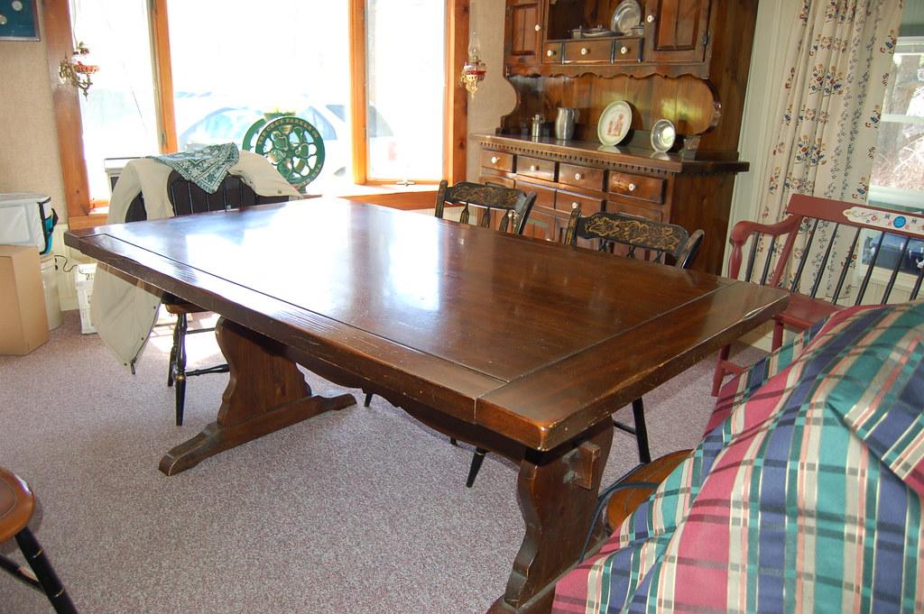 dark pine trestle table