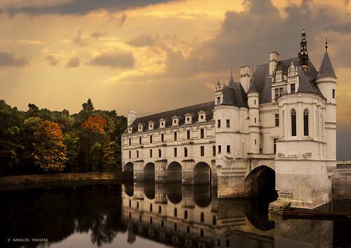 france chenonceaux loirevalley francueil chateau palace river bridge sunset digitalcameraclub centrevaldeloire indreetloire tours blere castle arch reflections