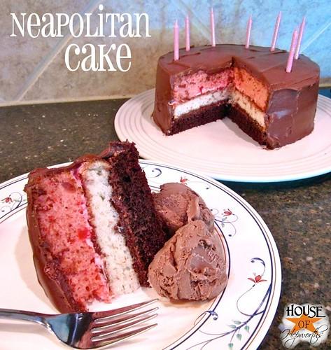 Make a Neapolitan cake using boxed cake mixes. Super easy tutorial. www.houseofhepworths.com