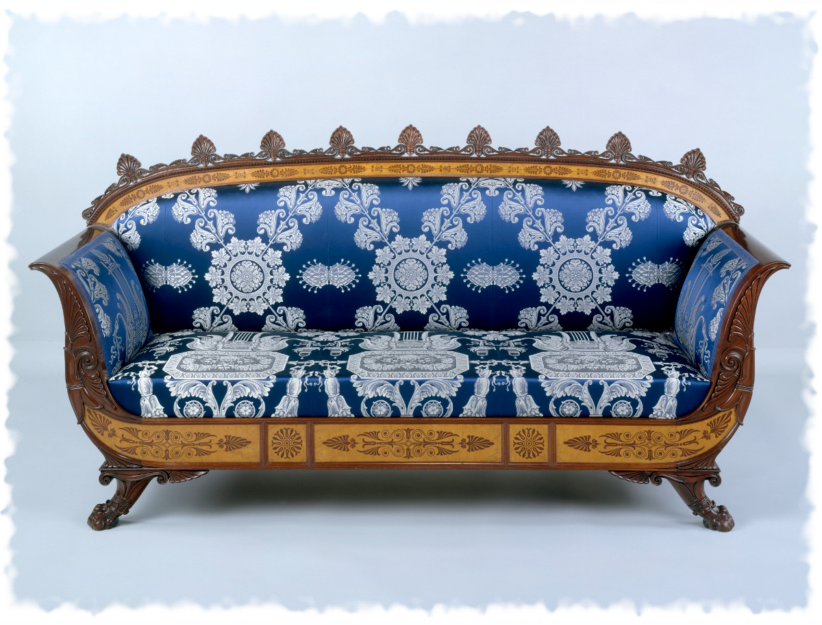 1835 Sofa. Italian. Mahogany veneered with maplewood and mahogany, covered with modern silk brocade. metmuseum